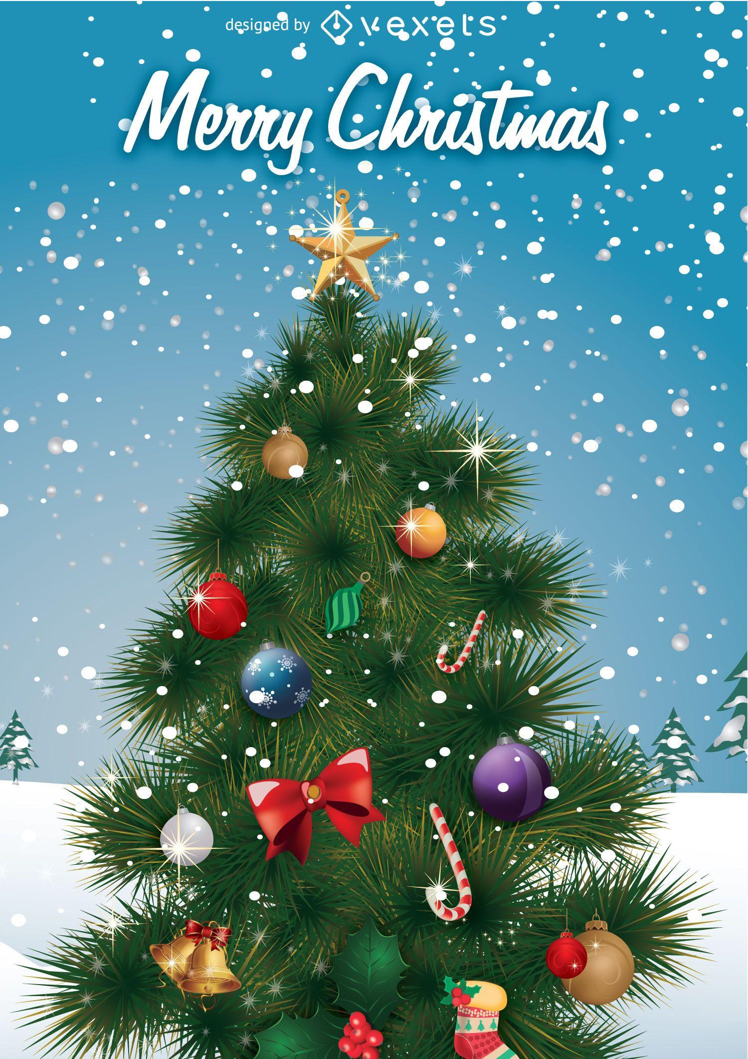 ?rbol de Navidad en paisaje invernal