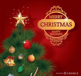 Feliz arbol de navidad con insignia dorada.