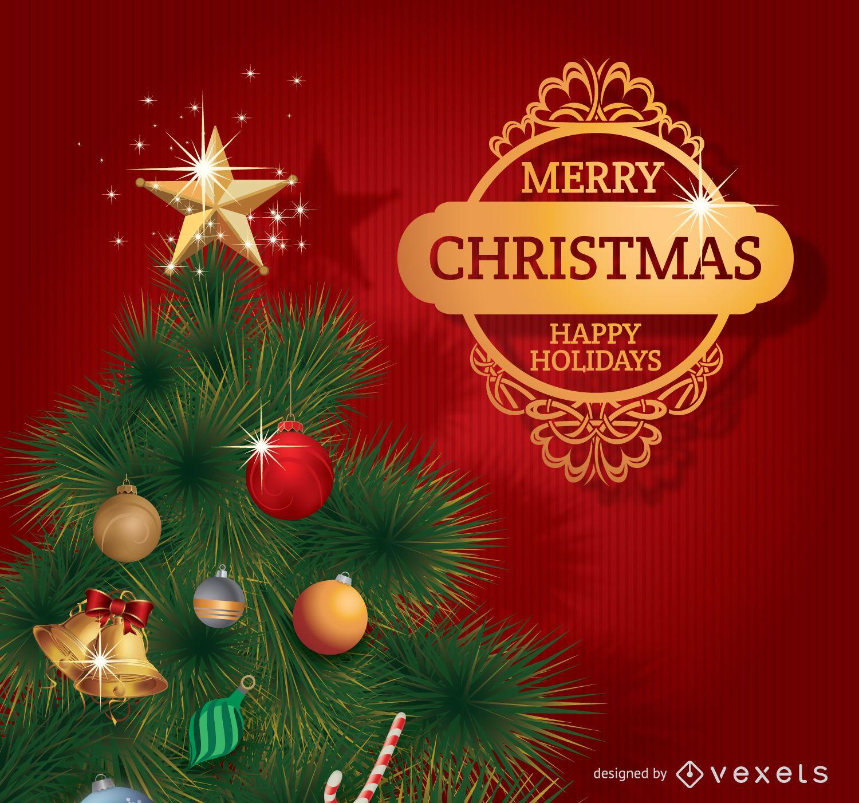 Feliz ?rbol de Navidad con insignia dorada