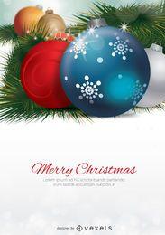 Bolas de Navidad macro con espacio en blanco para mensaje