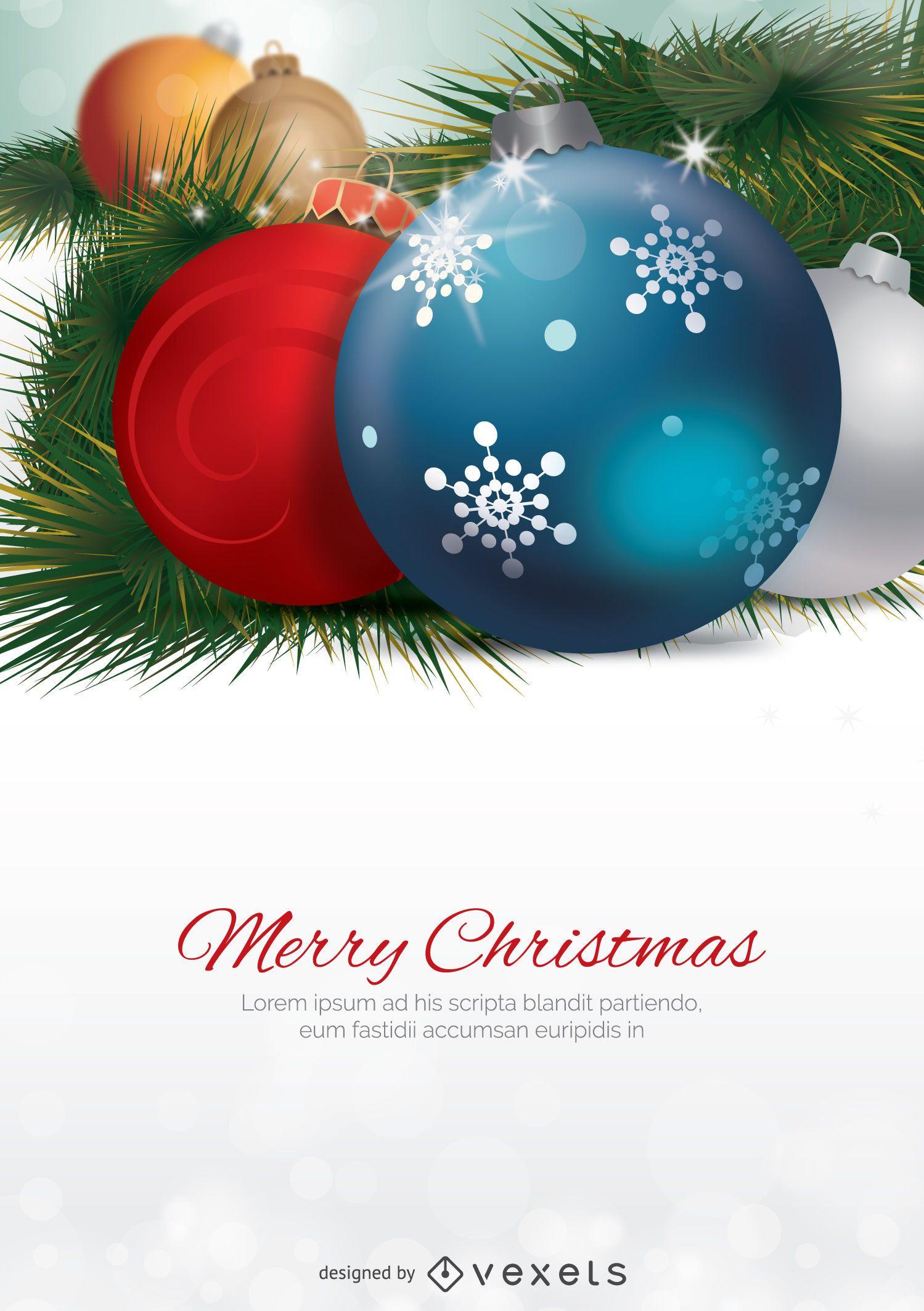 Macro de bolas de Navidad con espacio en blanco para mensaje