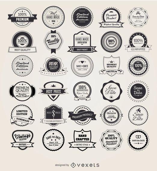 25 emblemas vintage retrô e rótulos