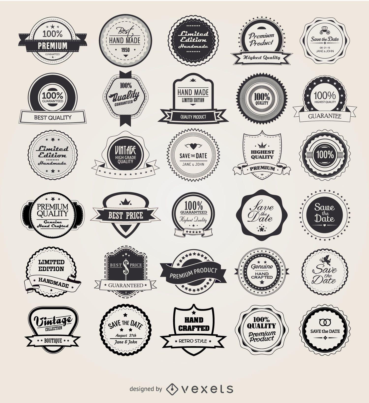 25 emblemas e etiquetas vintage retrô