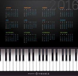 Calendário de piano de música de 2016