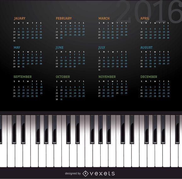 Calendario de piano de música 2016