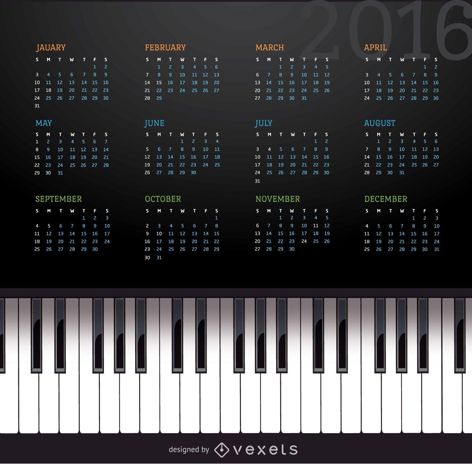 Calendario de piano musical 2016