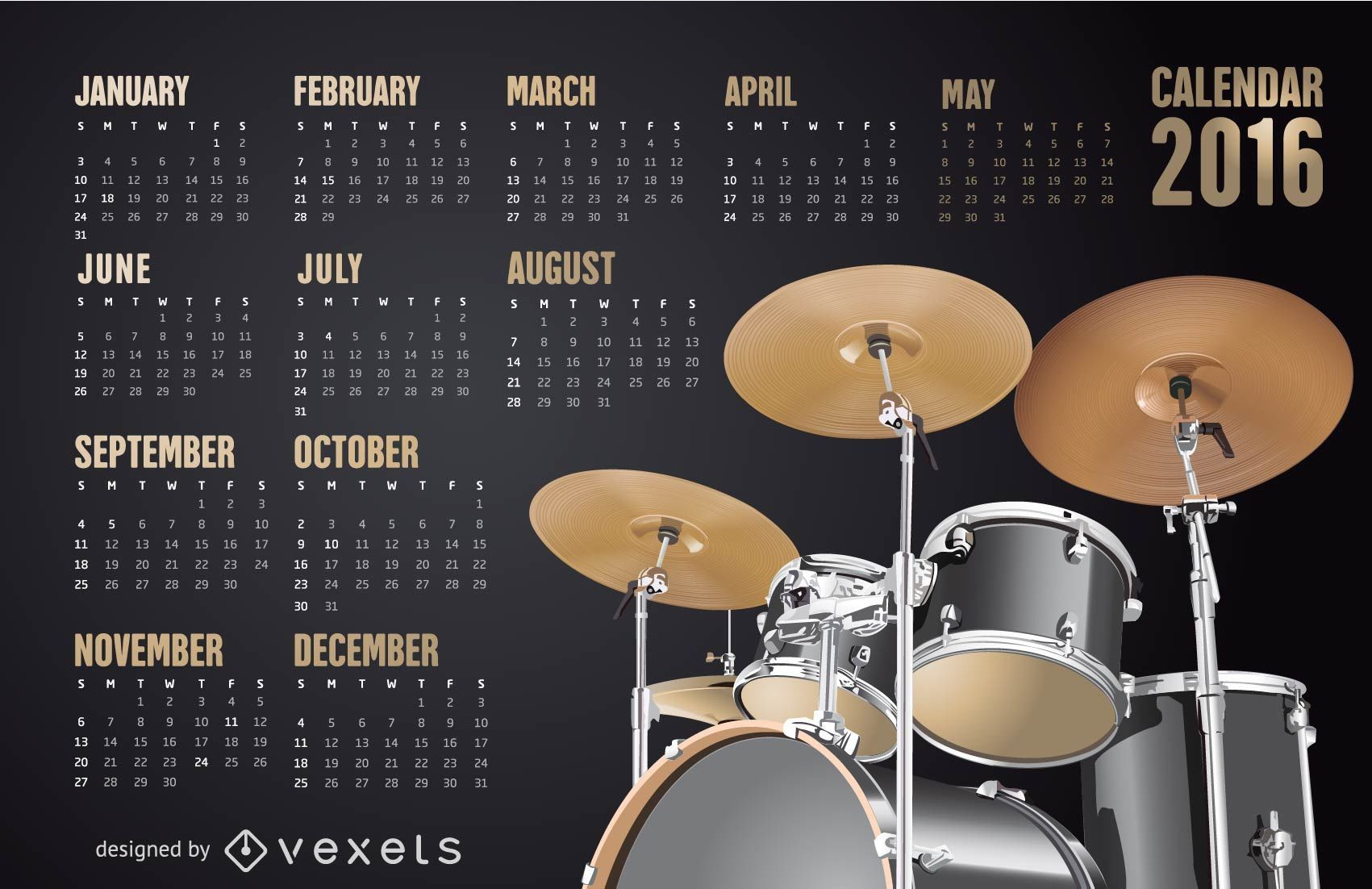 2016 Drums Calendar