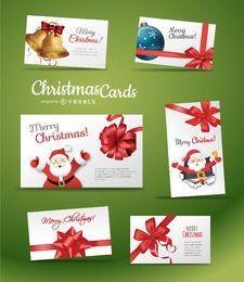 Conjunto de hermosa tarjeta de Navidad
