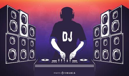 Cartel de fiesta disco de DJ