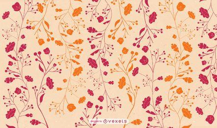 Papel pintado floral naranja rojo plano
