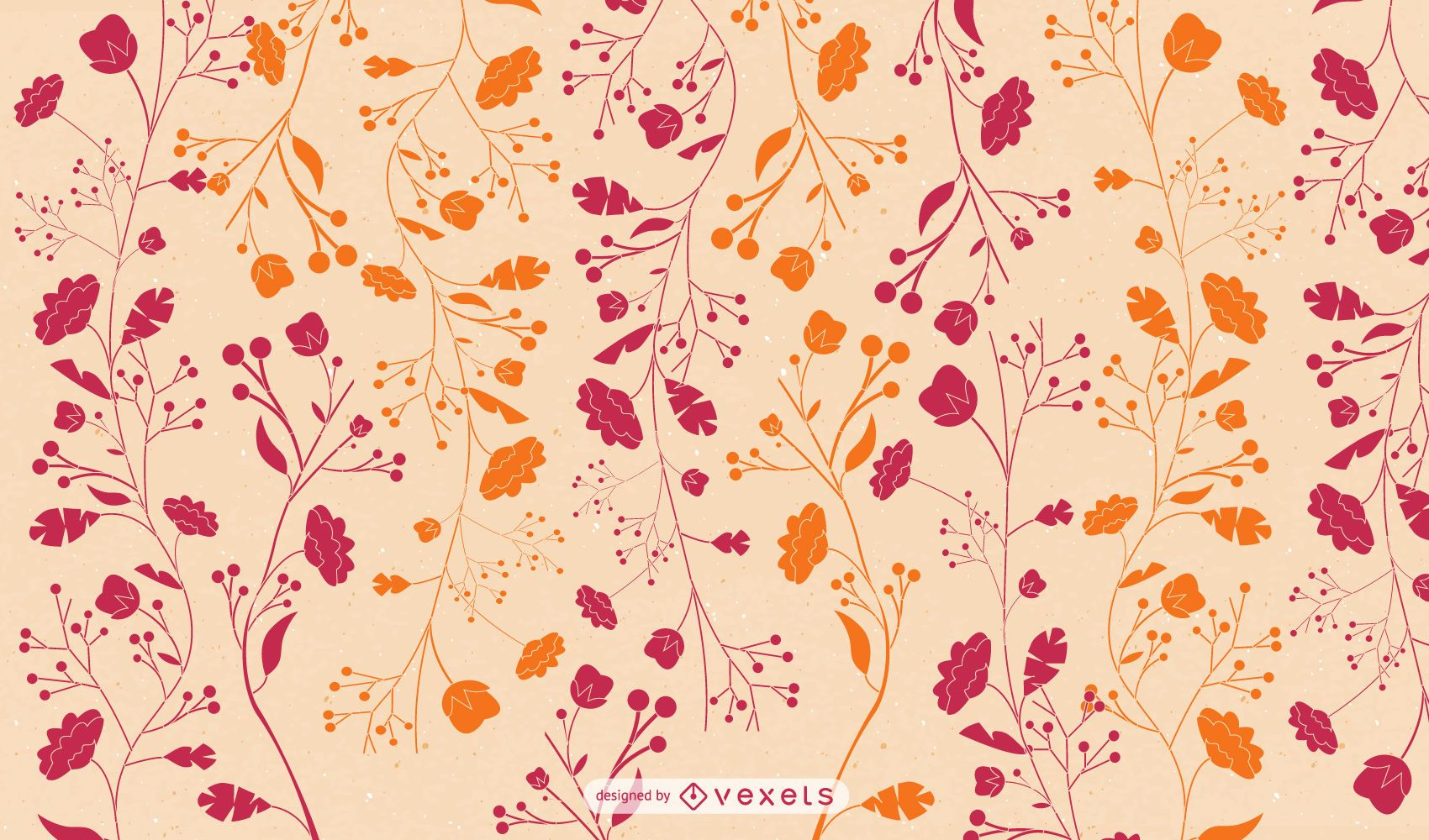 Flat Red Orange Floral Wallpaper