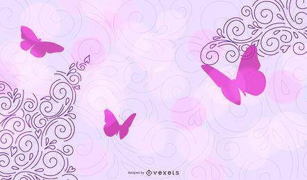 Esquina púrpura remolinos con mariposas