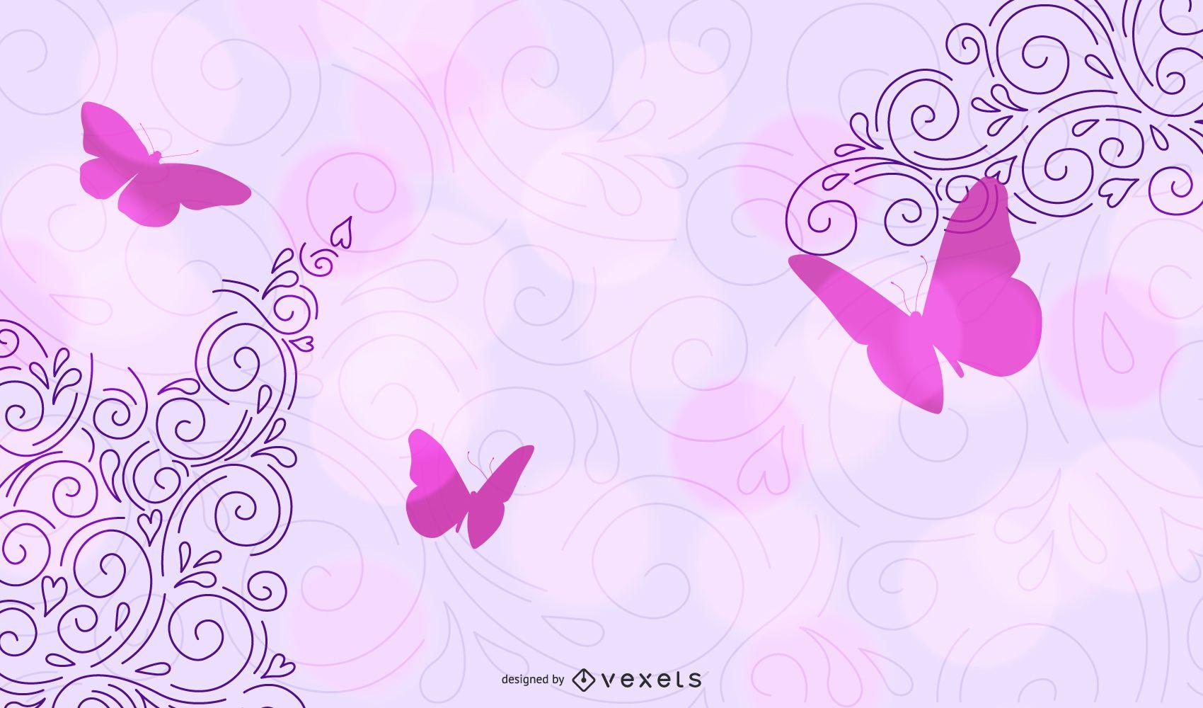 Purple Corner Swirls with Butterflies