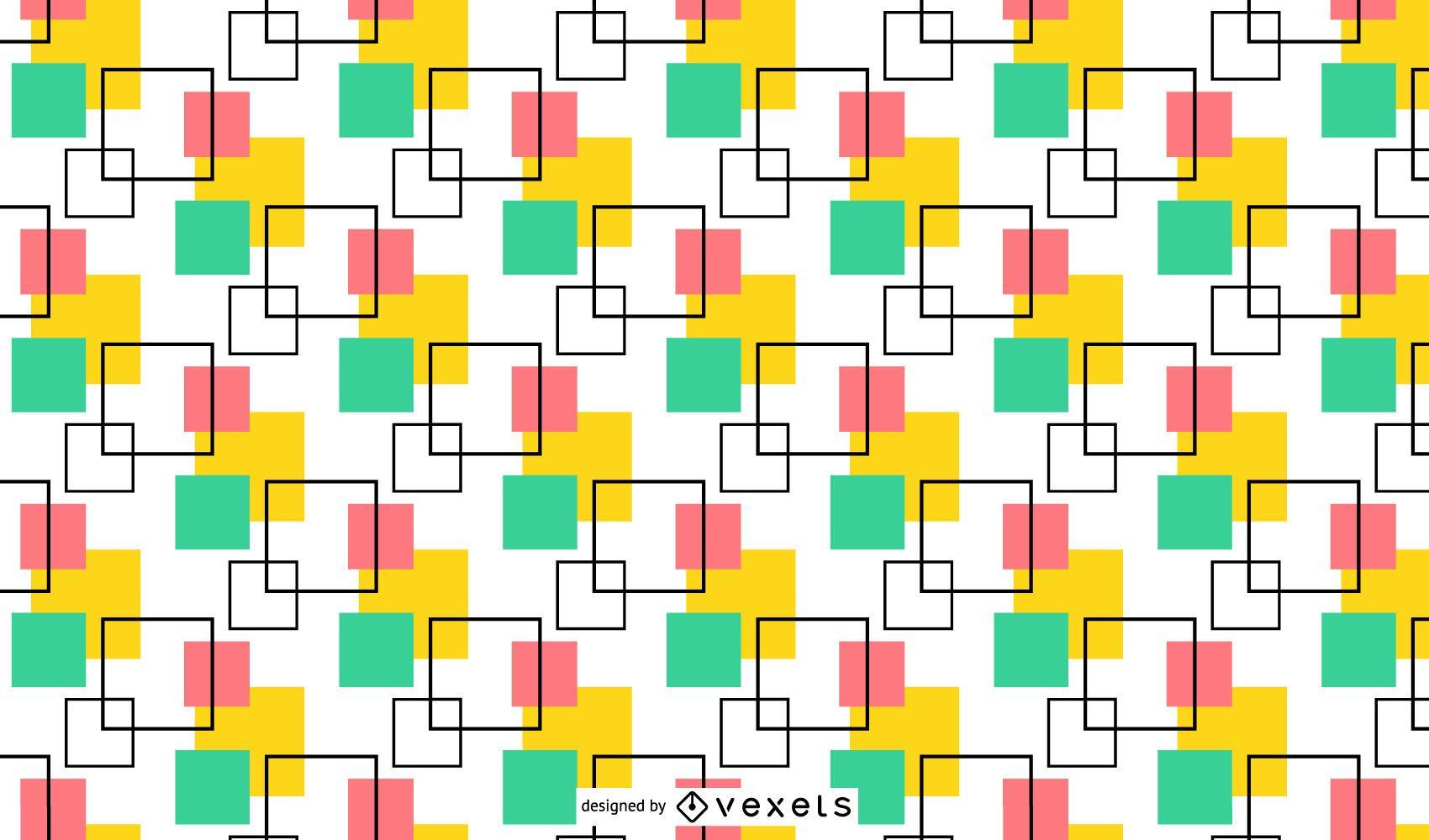 Patrón sin costuras mínimo de cuadrados multicolores
