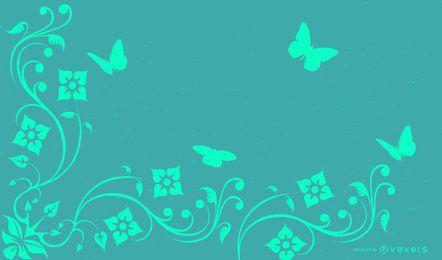 Green Wavy Swirls Background