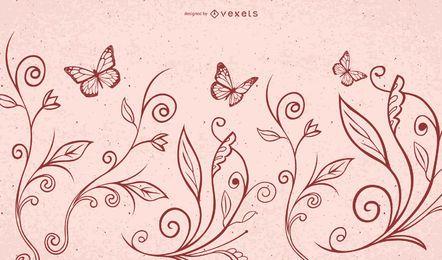 Mariposas rojas de la planta de la flor que remolinan