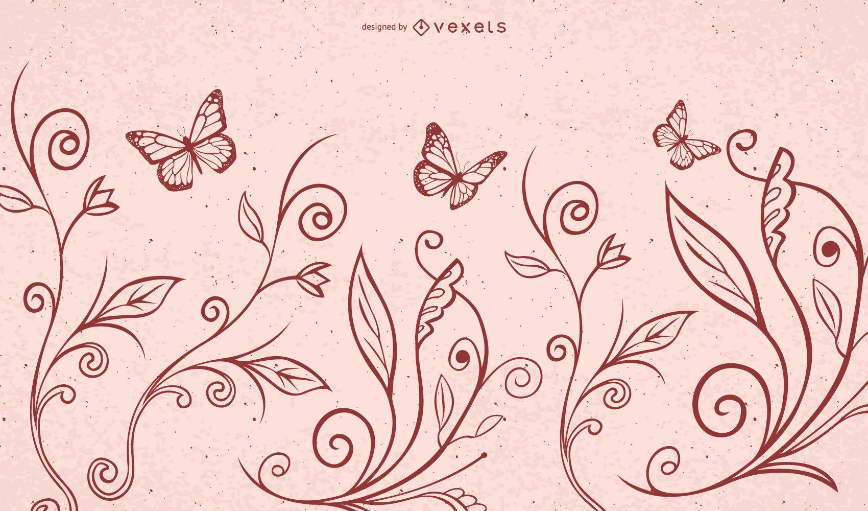 Mariposas de plantas de flor de remolino rojo