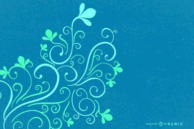 Decoración de la esquina que remolina verde azul