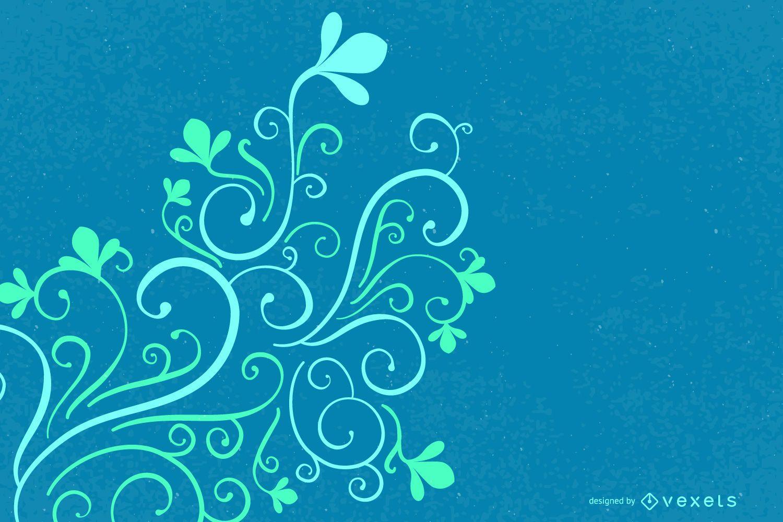 Blue Green Swirling Corner Decoration