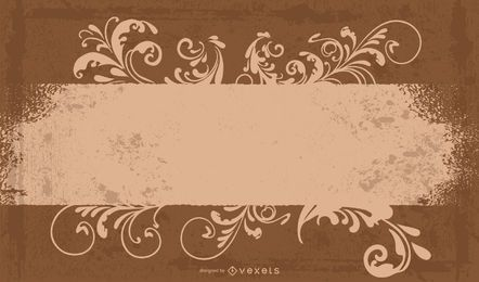 Brown Floral Frame Grungy Banner