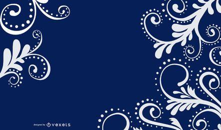White Swirls Blue Background