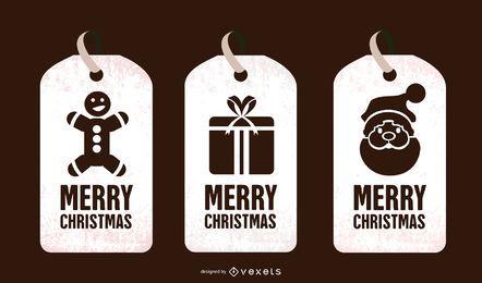 Conjunto de etiquetas de Navidad en blanco y negro