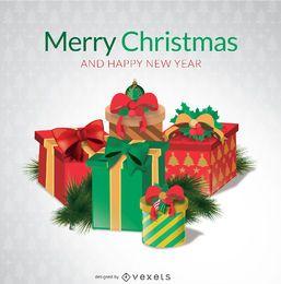 Caixas de presente de Natal feliz