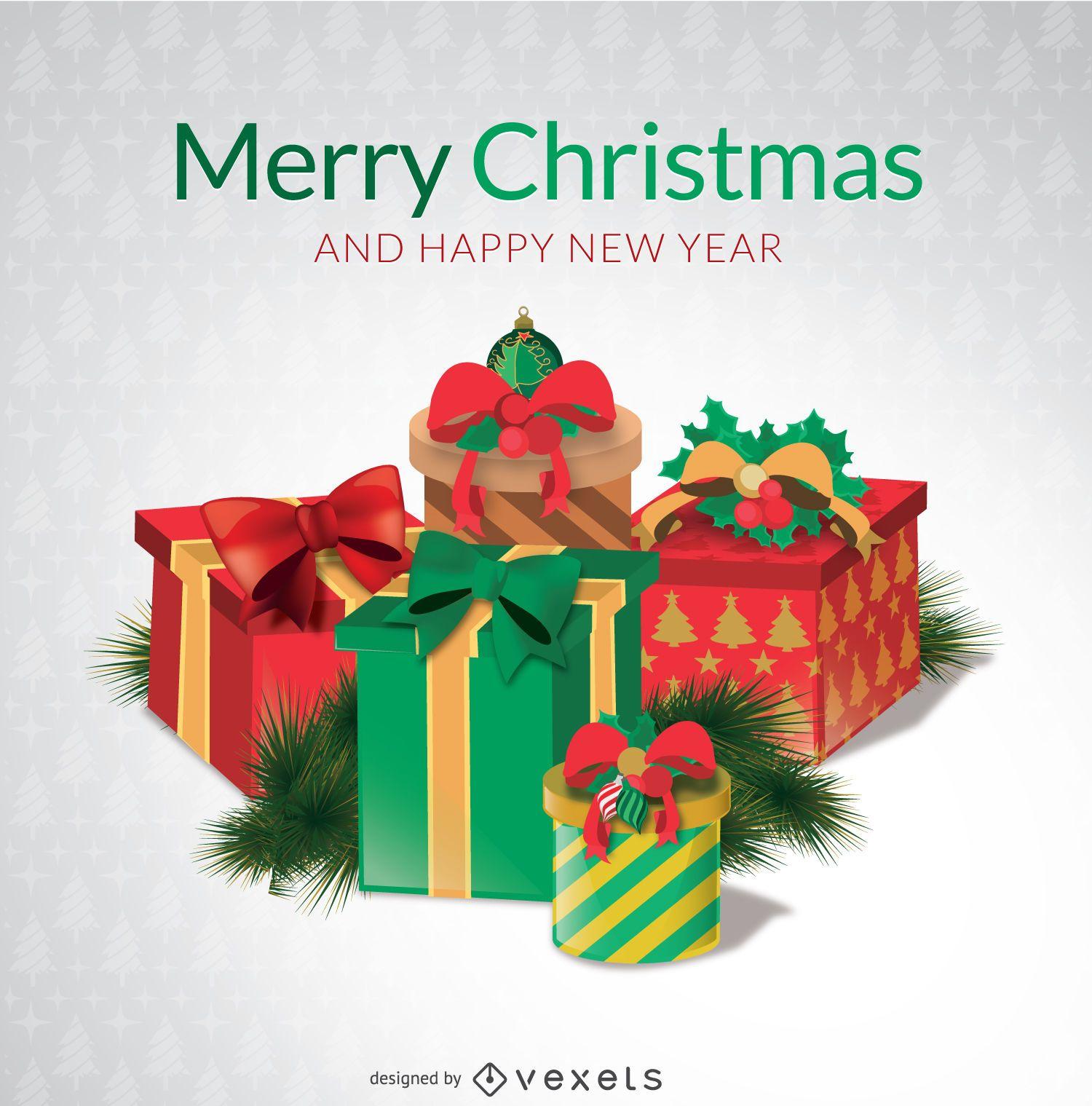 Cajas de regalo de feliz Navidad