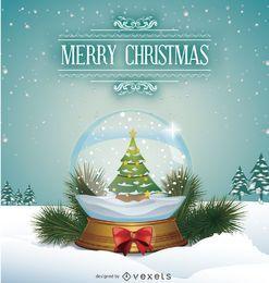 Bola de nieve con árbol de Navidad