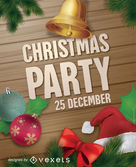 christmas party poster vector download