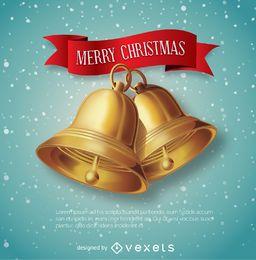 Sinos de Natal com mensagem de fita vermelha