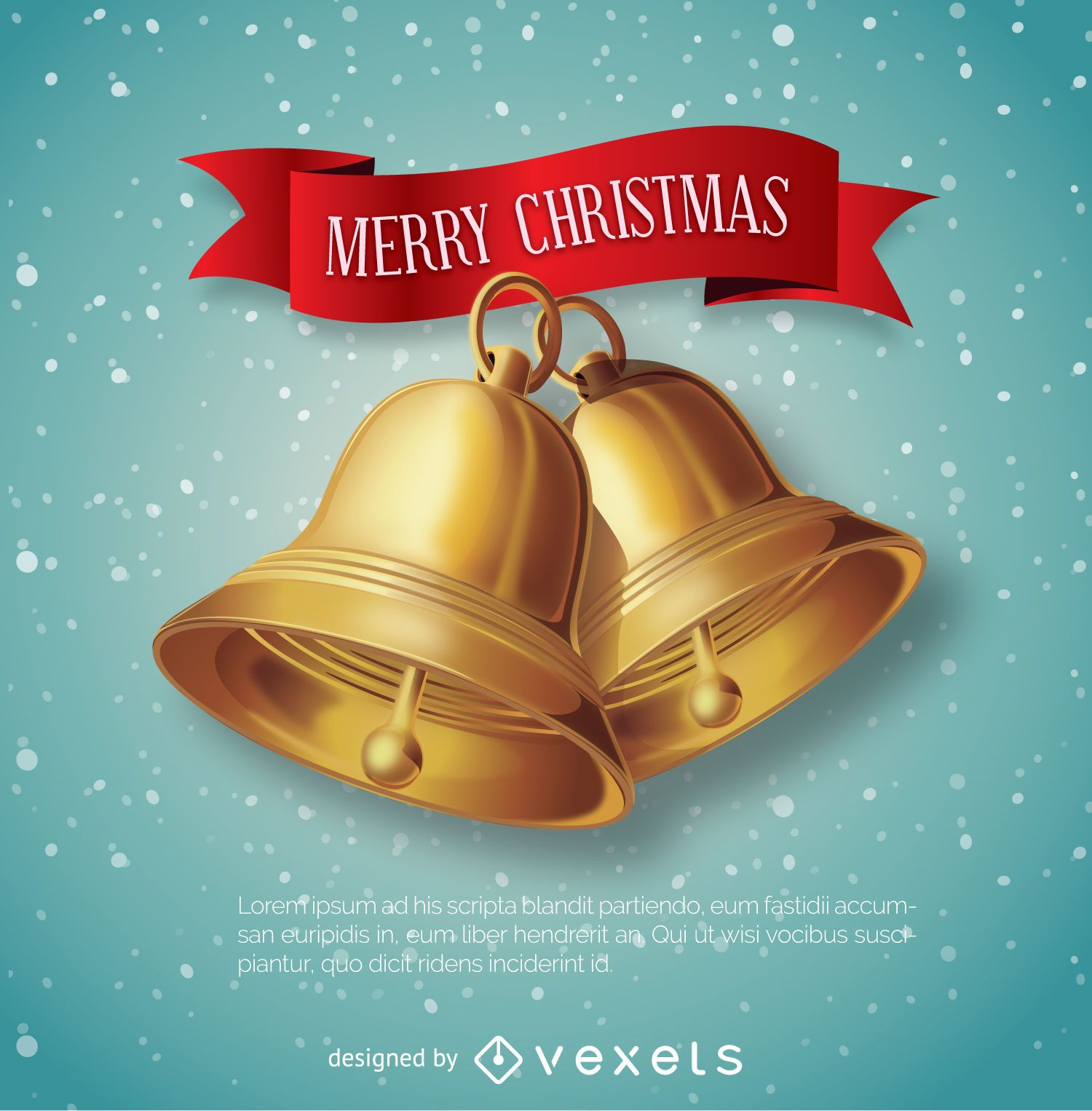 Christmas Bells with red ribbon message
