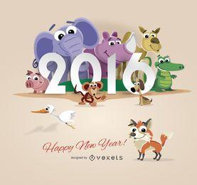 Design de ano novo de 2016 animais