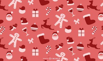 Retro Flat Weihnachten Muster