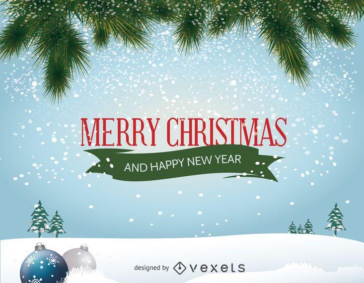 Frohe Weihnachten Download.Frohe Weihnachten Winterlandschaft Vektor Download