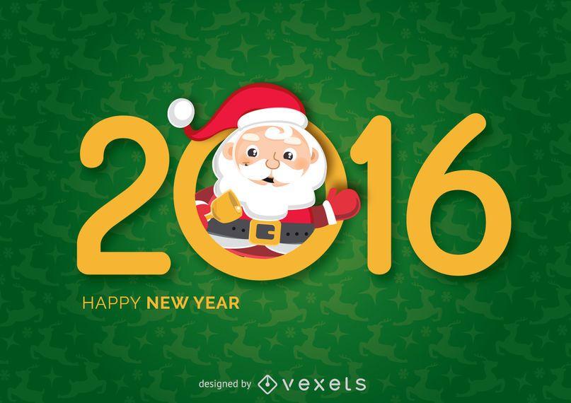 Año nuevo 2016 santa diciendo hola
