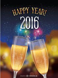 Glücklicher Toast 2016 über Feuerwerkshintergrund