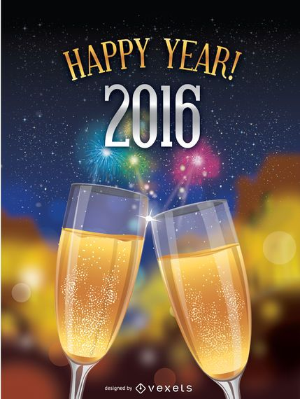 Happy 2016 toast over fireworks background