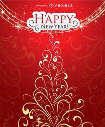 Feliz ano novo e cartão de Natal