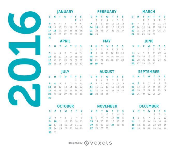 Calendário simples de 2016