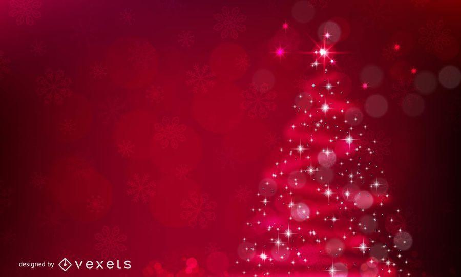 Reluciente Rbol De Navidad Fondo Rojo Descargar Vector