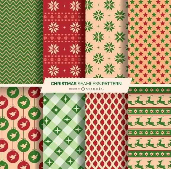 8 Christmas seamles patterns