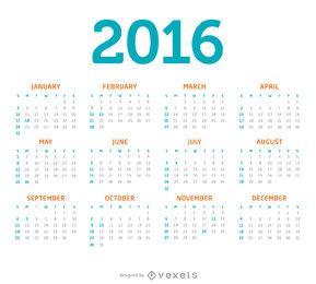 Calendário minimalista de 2016