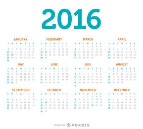 Minimalist 2016 calendar
