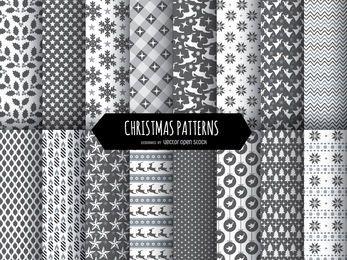 16 patrones navideños en blanco y negro.