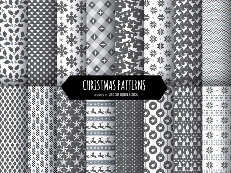 16 Weihnachtsschwarzweiss-Muster