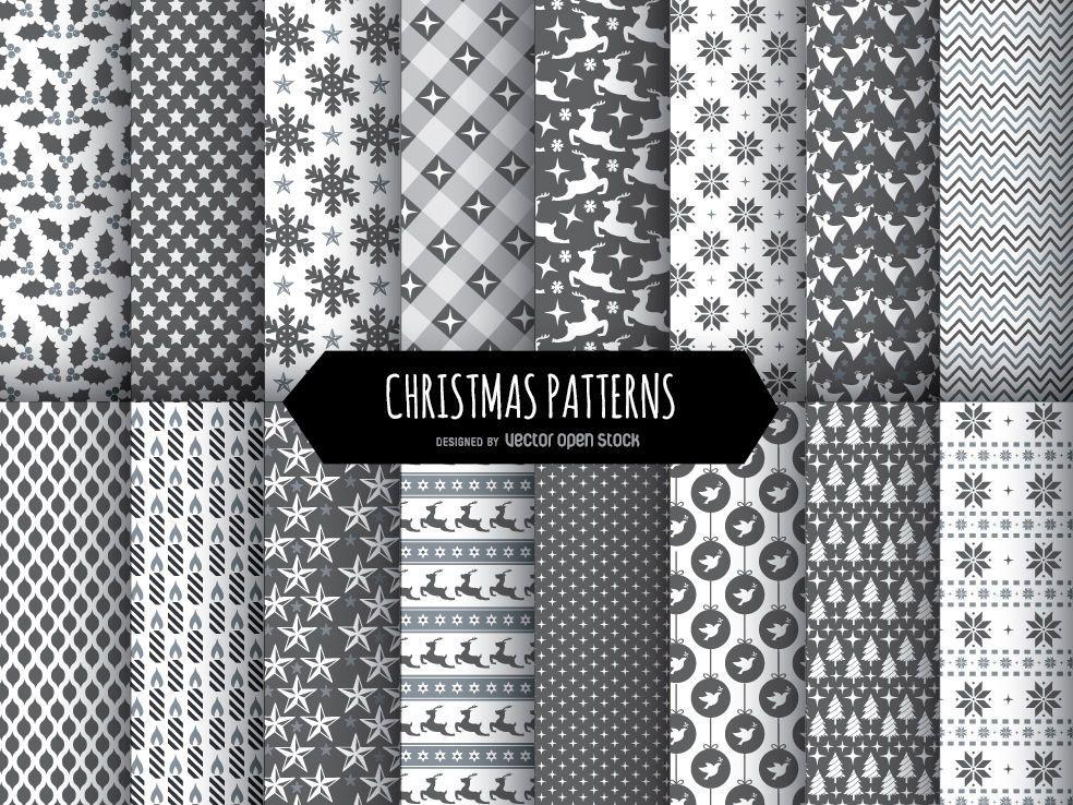 16 patrones navideños en blanco y negro