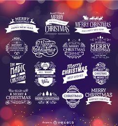 Insignias de navidad y etiquetas