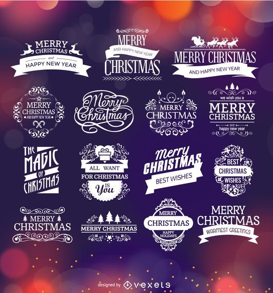 Christmas badges and labels