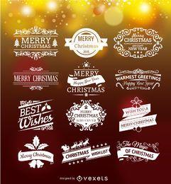 Conjunto de emblemas navideños.